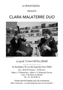 SOIREE DU 12 AVRIL 2018 CLARA MALATERRE