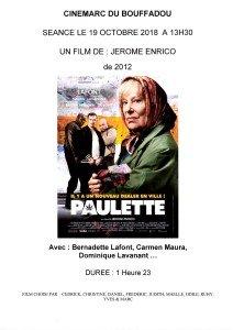 AFFICHE CINEMARC 19 OCTOBRE 2018 PAULETTE