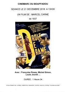 AFFICHE CINEMARC 21 DECEMBRE 2018 DROLE DE DRAME