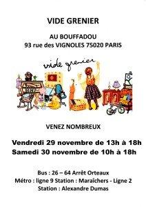 AFFICHE LE BOUFFADOU VIDE GRENIER 29-30 novembre 2019