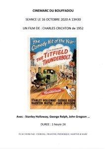 AFFICHE CINEMARC 16 OCTOBRE 2020 TORTILLARD POUR TITFIELD