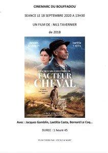 AFFICHE CINEMARC 18 SEPTEMRE 2020 L'INCROYABLE HISTOIRE DU FACTEUR CHEVAL